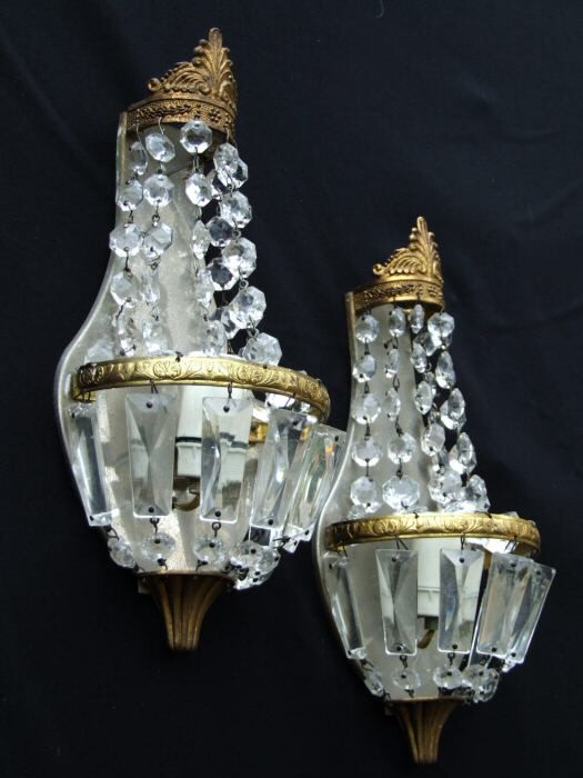 Pair of Antique Sac a Perles Wall Lights