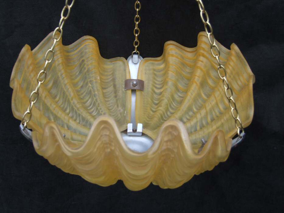 Daffodil Yellow Art Deco Shell Ceiling Light