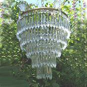 A Large Mid 20th Century 5 Tier Icicle Drop Chandelier