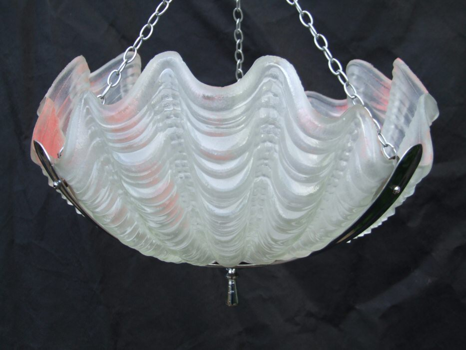 Very soft pink Art Deco Shell Ceiling Light