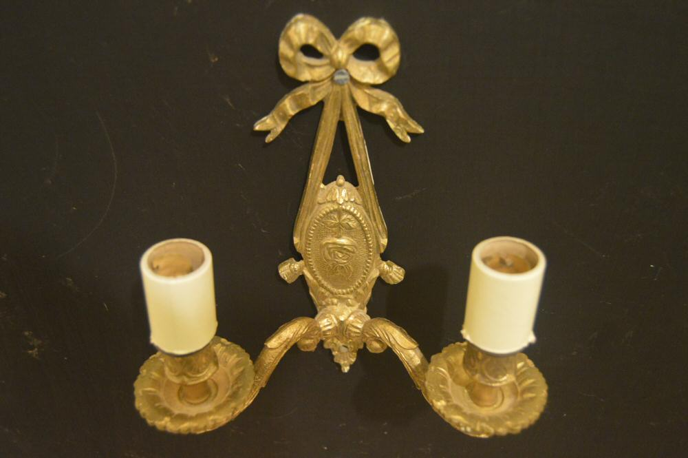 A Pair of Double Arm Brass Wall Lights