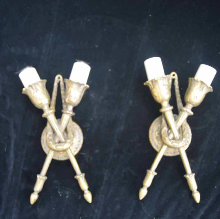 air of Edwardian Twin Arm Brass Wall Lights