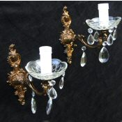 Pair of Mid 20th Century Brass Victorian style wall Lights