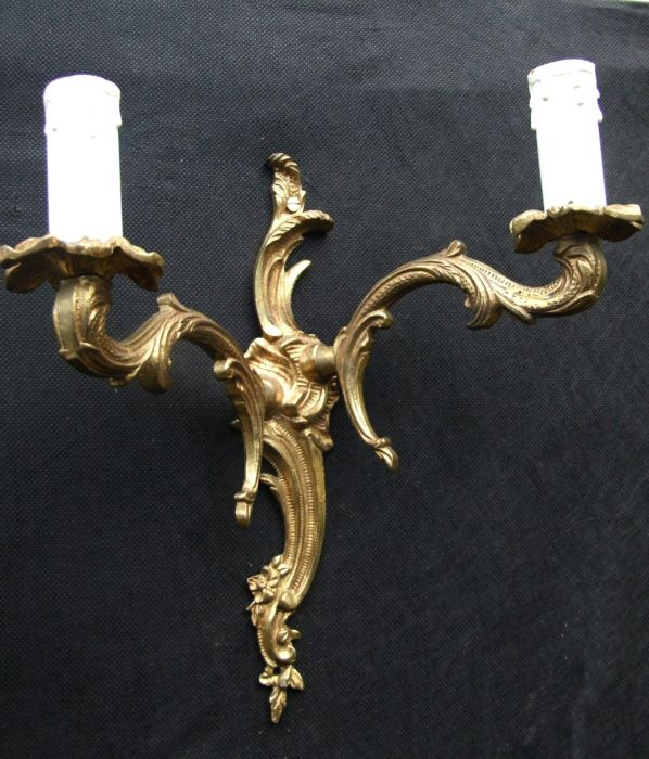 Pair of Mid 20th Century Double Arm Louis Style Roccoco Brass Wall Lights