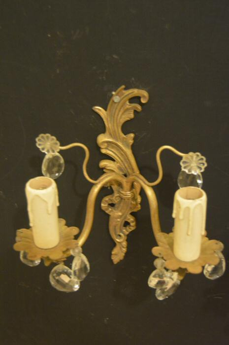pair of double arm accanthus brass wall lights