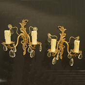 A Pair of Double Arm Cast Brass Roccoco Style Wall Lights