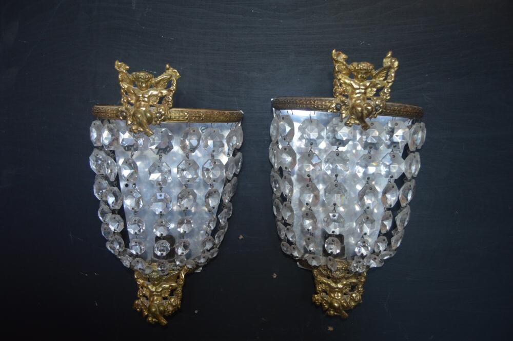 0 Large Purse Wall Lights with Cherub decoration