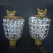Circa 1930 Large Purse Wall Lights with Cherub decoration