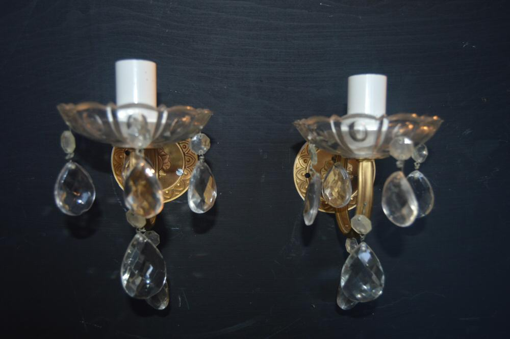 irca 1930 pretty pair of brass and crystal wall lights