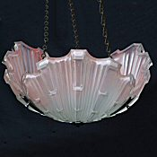Art Deco Pink Opaque Shell Ceiling Light
