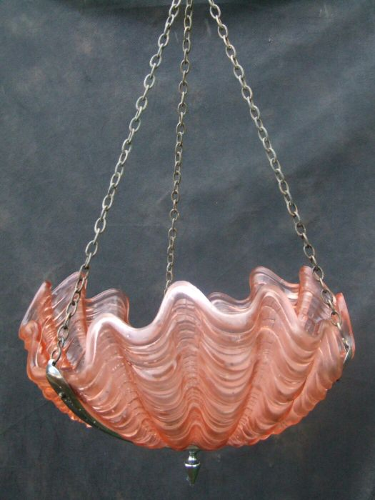 Art Deco Cranberry Shell Ceiling Light