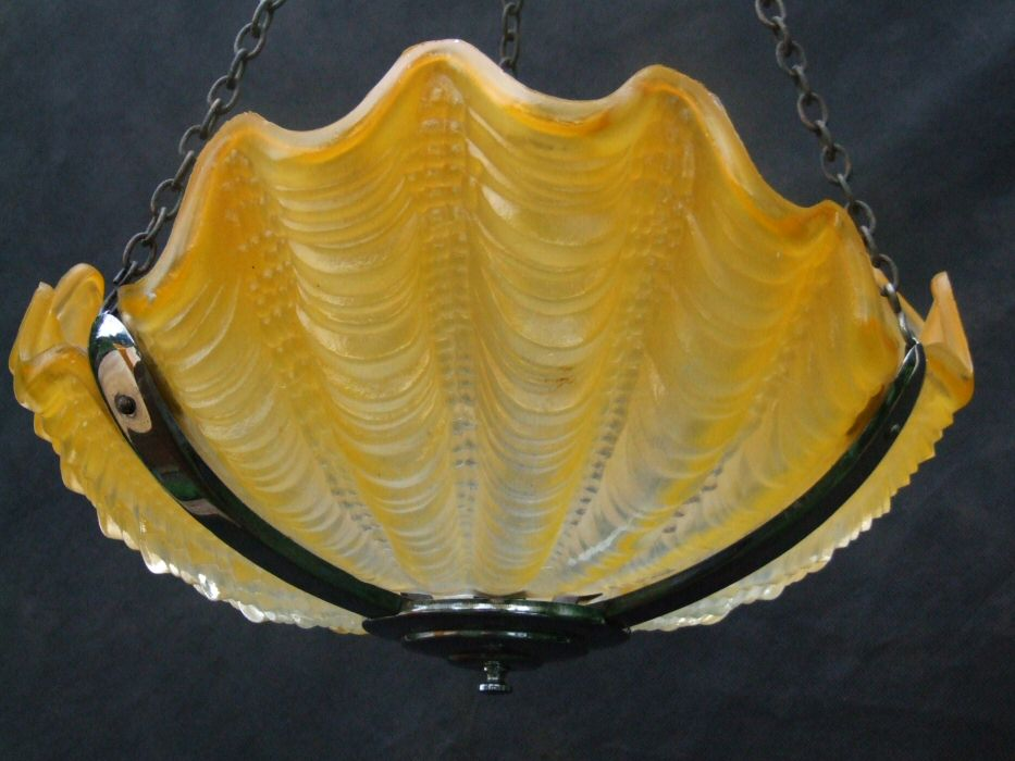 Art Deco Daffodil Yellow Shell Ceiling Light