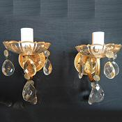 pair of 1930 brass and glass wall lights