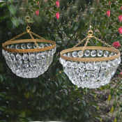 Pair of mid 20th Century bag chandeliers