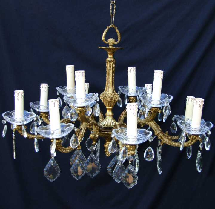 Circa 1930 Large Brass and Crystal 12 Bulb Chandelier