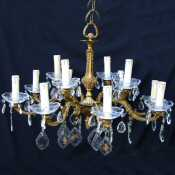 Circa 1930 Brass and Crystal 12 Bulb Chandelier