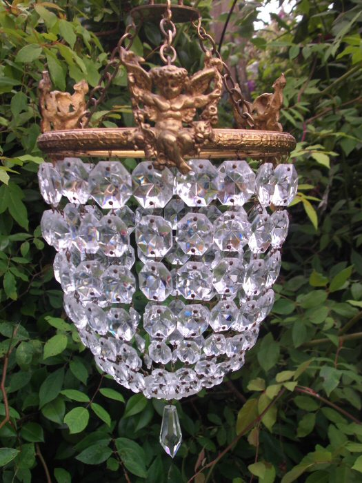 ca 1930 Decorative Purse Chandelier with Cherubs