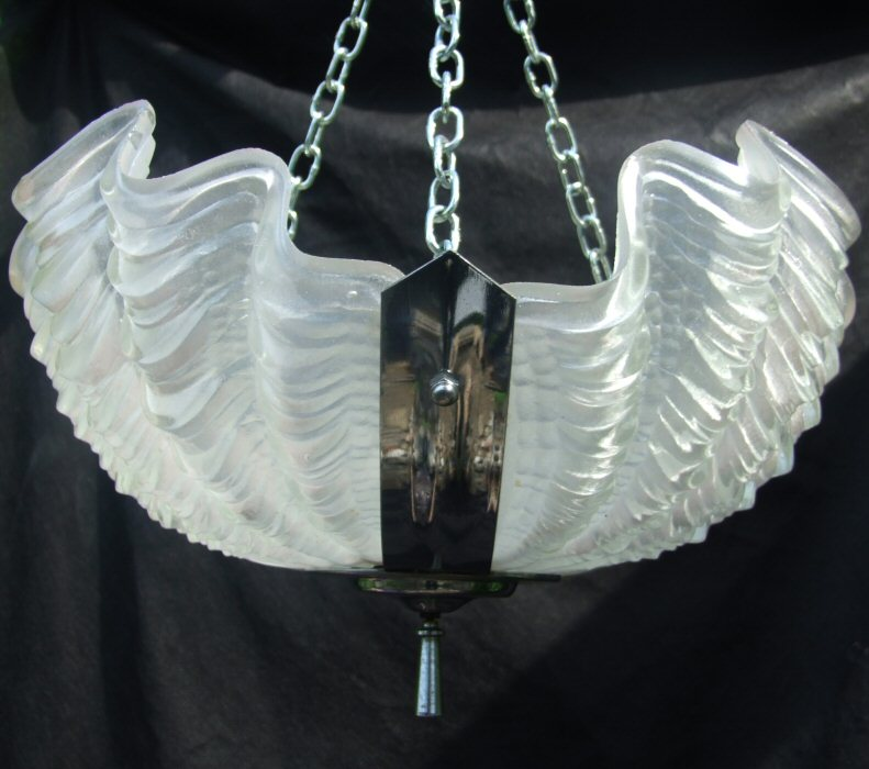 Art Deco Opaque Shell Ceiling Light