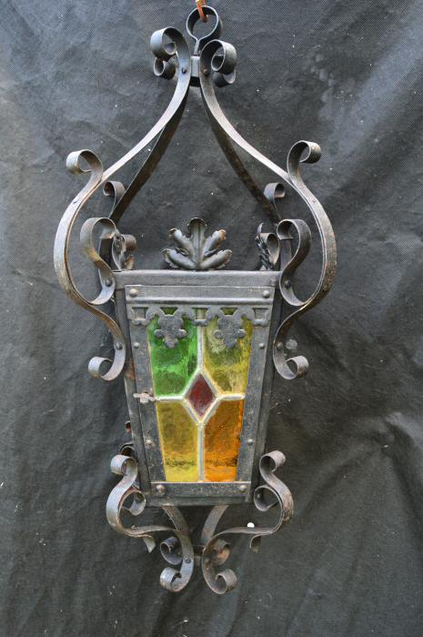 Late Victorian Wrought Iron Stained Glass Lantern
