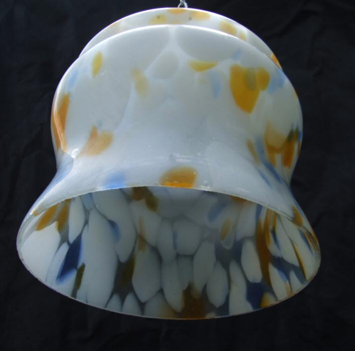 Art Deco mottled white, tangerine and blue shade