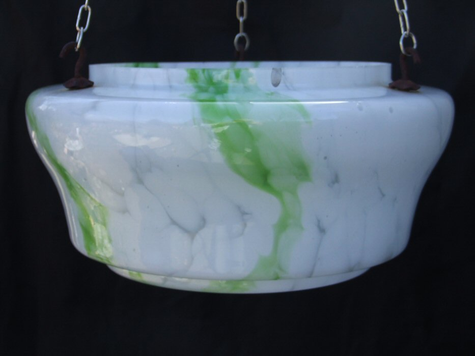 Mottled White and Green Deco Ceiling Light