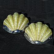 Pair of Lemon Art Deco Shell Wall Lights