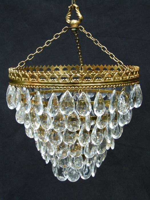 Mid 20th Almond Drop Chandelier