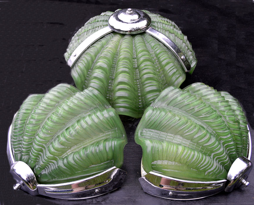 Green Art Deco Shell Ceiling Light with pair of matching art Deco Wall Lights
