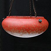 Mottled White and Tomato Red Art Deco Ceiling Light