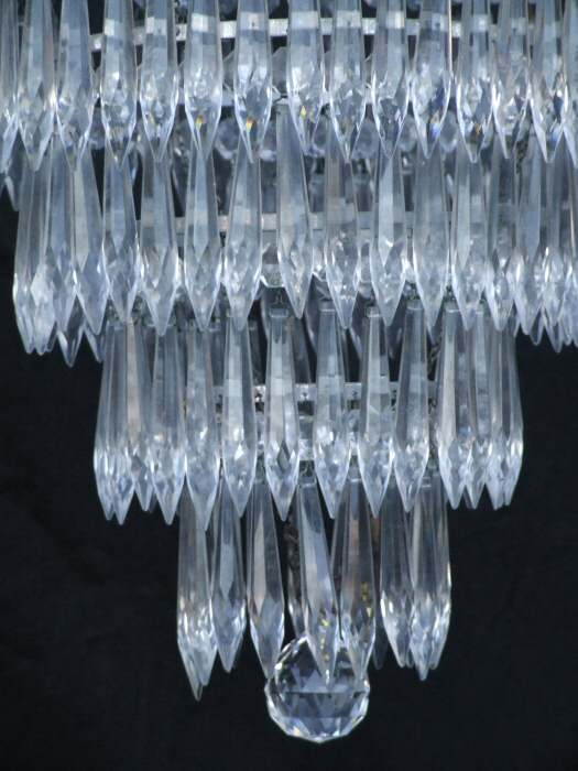 A Large Mid 20th Century 4 Tier Icicle Drop Chandelier
