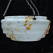 Mottled Tangerine and White Art Deco Ceiling Light
