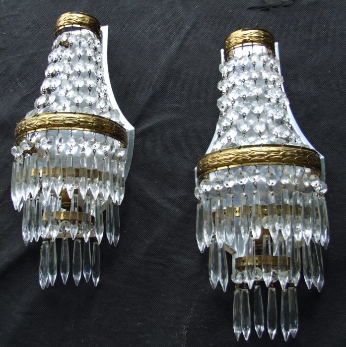 Pair of Large Icicle Drop Wall Lights