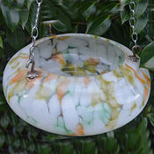 Small Art Deco Mottled White, Tangerine and Green Ceiling Light