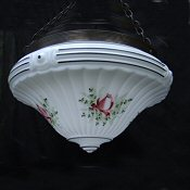 Edwardian Fluted White Milk Glass with handpainted roses