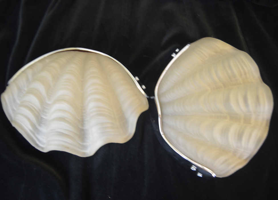 Pair of Opaque  Art Deco Shell Wall Lights