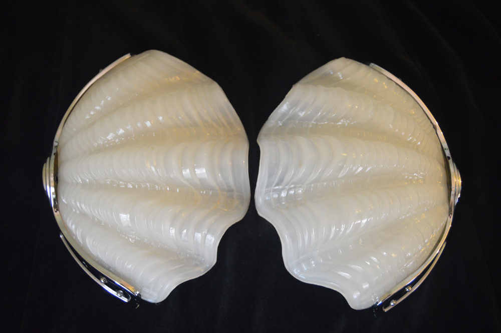 Pair of White  Art Deco Shell Wall Lights