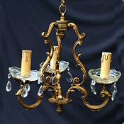 Antique 19th Century French 3 Arm Birdcage chandelier