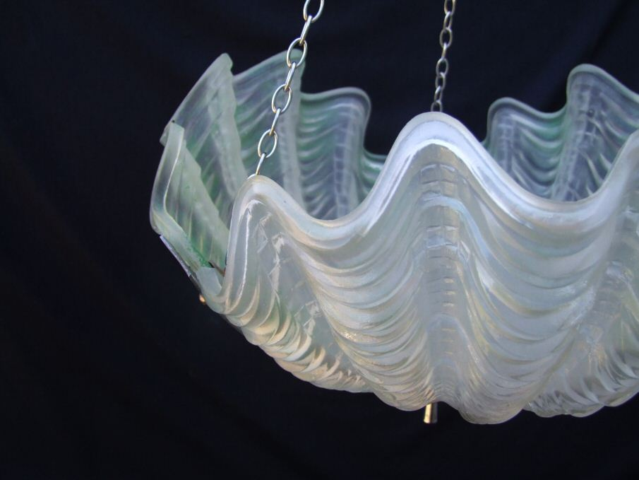 Deco Very Pale Apple Green Shell Ceiling Light