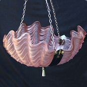 Stunning Cranberry Deco Shell Ceiling Light