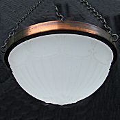 Edwardian Fluted Opaque and Copper Ceiling Light