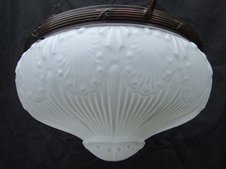 Edwardian Fluted White Glass and Copper Ceiling Light