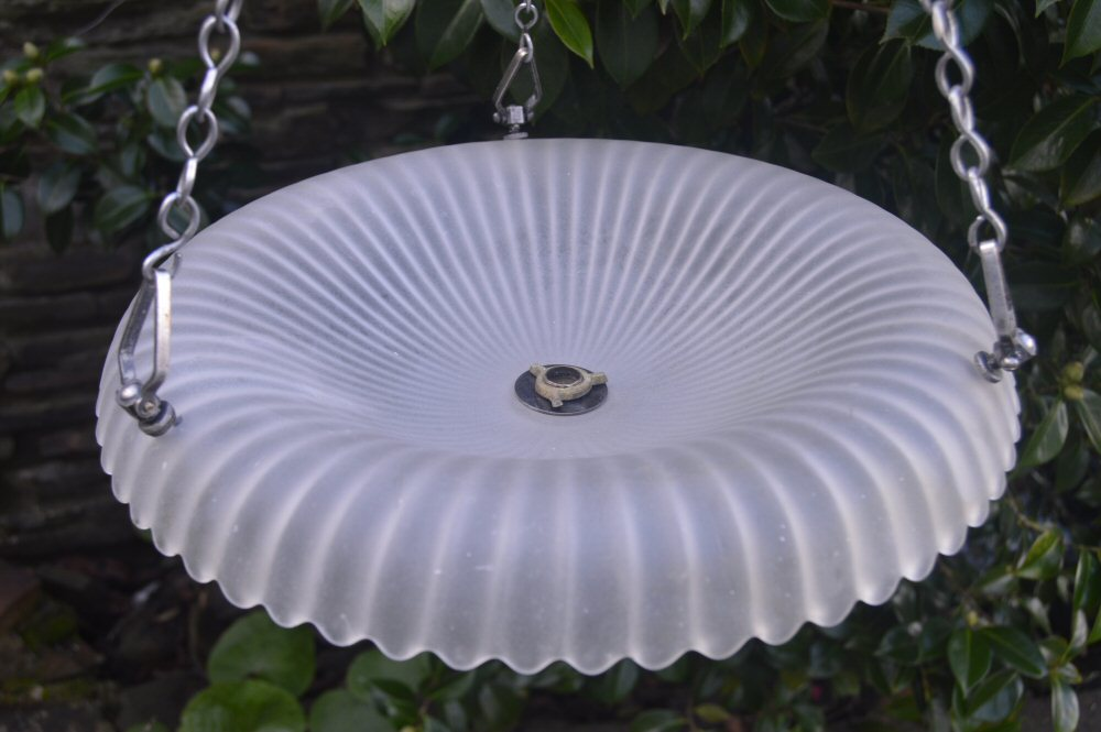 Circa 1930 Fluted Upturned Opaque Ceiling Light