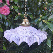 Pretty Vintage French mottled pink frilled Shade