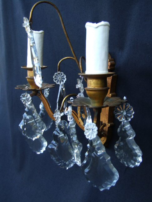 Circa 1900 French Double Armed Brass and Glass Wall Lights