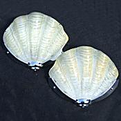 Pair of Soft Lemon Art Deco Shell Wall Lights