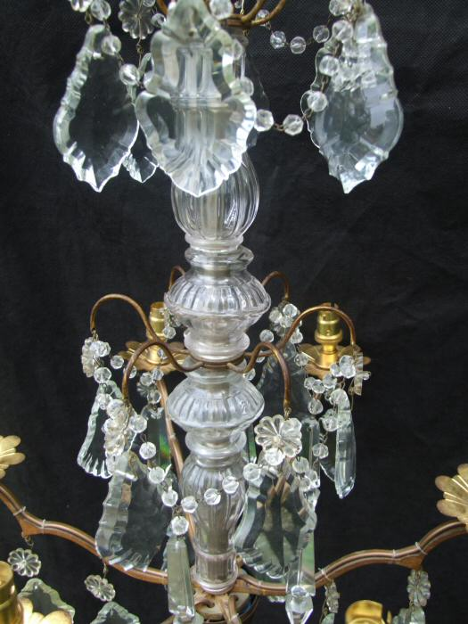 Circa 1900 A 5 arm Brass and Crystal Chandelier