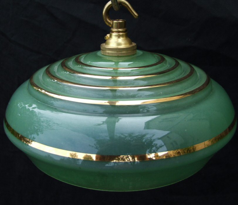 Art Deco Green Ceiling Light