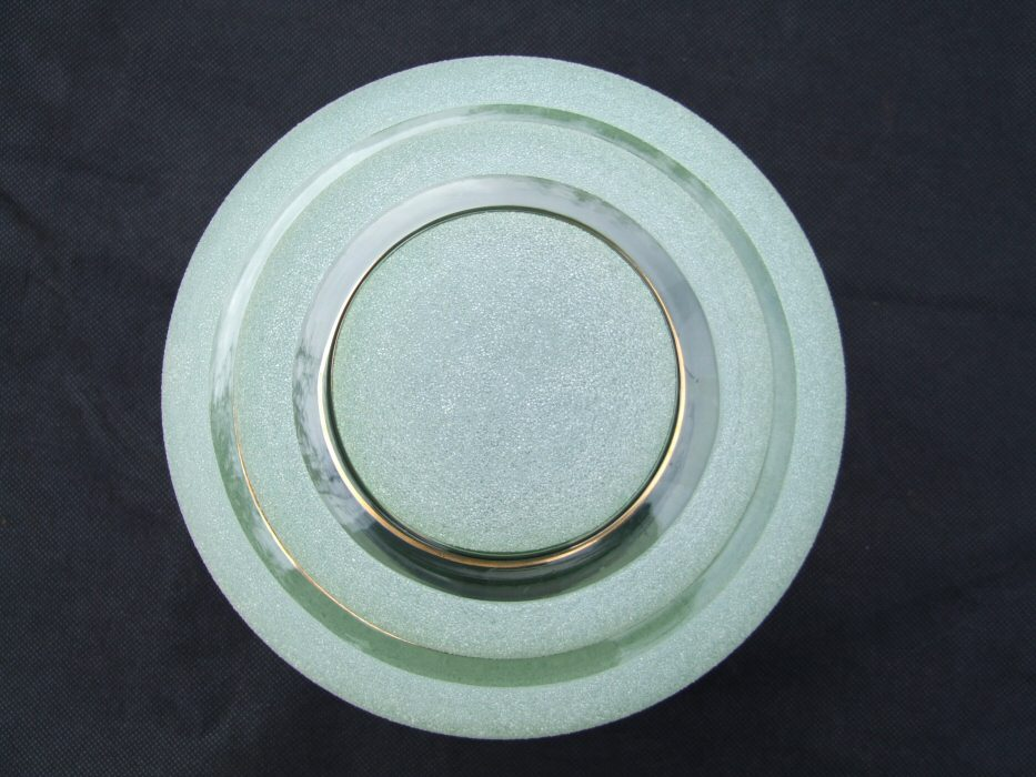Gorgeous Art Deco Sugar Frosted Green Ceiling Light