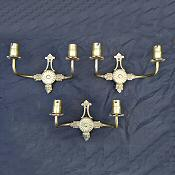 Set of 3 brass double arm wall lights in the regency style