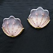 Soft Pink Art Deco Petal Wall Light with guilded brass frames